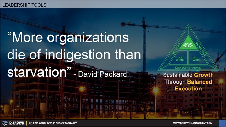 Quote: More organizations die of indigestion than starvation. David Packard.