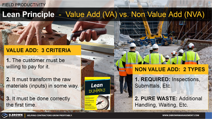 Field Productivity: Lean Principle, Value Add vs. Non Value Add