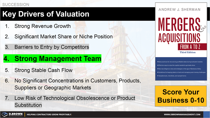 Succession: Key Drivers of Valuation. Book: Mergers Acquisitions From A to Z by Andrew J. Sherman.
