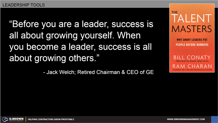 Quote: Before you are a leader, success is all about growing yourself. When you become a leader, success is all about growing others. Jack Welch Retired Chairman and CEO of GE