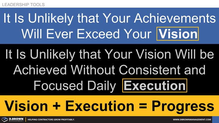 Leadership Tools: Vision plus Execution equals Progress.