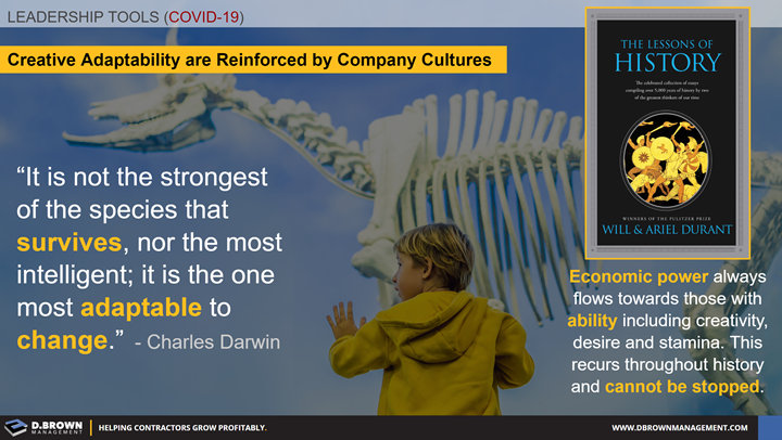 Leadership Tools for COVID-19: Adaptability Means Survival. Book: The Lessons of History by Will and Ariel Durant.