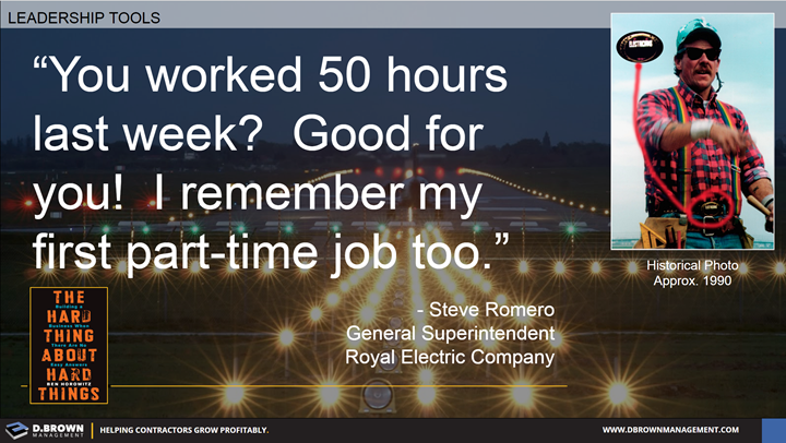 Quote: You worked 50 hours last week? Good for you! I remember my first part-time job too. Steve Romero General Superintendent Royal Electric Company