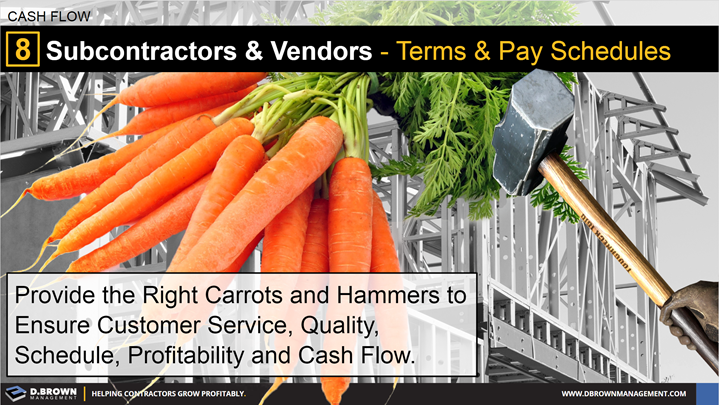 Cash Flow: Tip 8 Subcontractors and Vendors - Terms and Pay Schedules