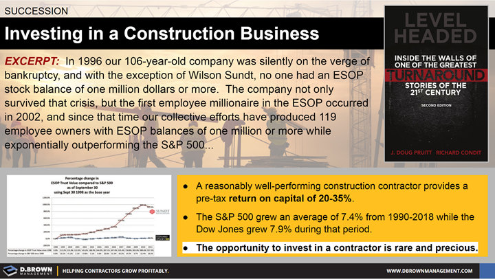 Succession: Investing in a Construction Business. Book: Level Headed, Inside the Walls of One of the Greatest Turnaround Stories of the 21st Century by J. Doug Pruitt and Richard Condit.
