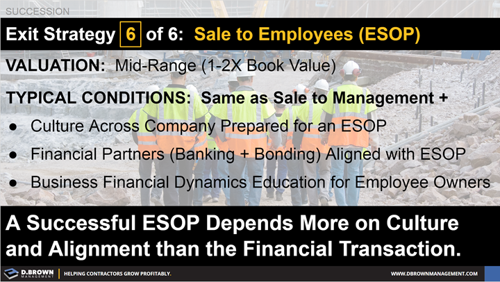 Succession: Exit Strategy 6 of 6 - Sale to Employees (ESOP).