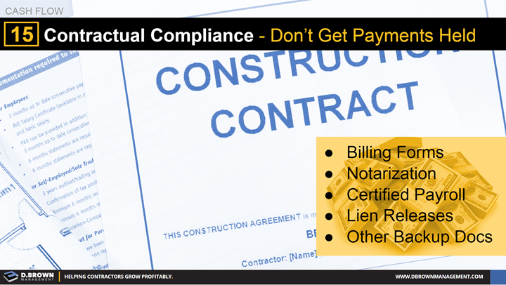 Cash Flow: Tip 15 Contractual Compliance - Don't Get Payments Held