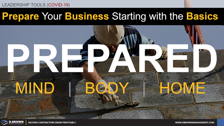 Leadership Tools for COVID-19: Prepare your business starting with the basics. Prepared mind, body, and home.