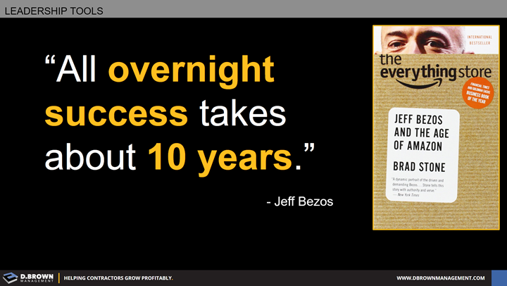 Quote: All overnight success takes about 10 years. Jeff Bezos.