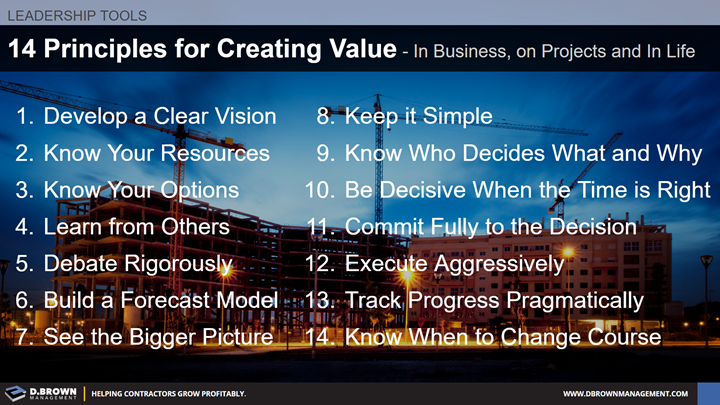Leadership Tools: 14 Principles for Creating Value in Business, on Projects and in Life.