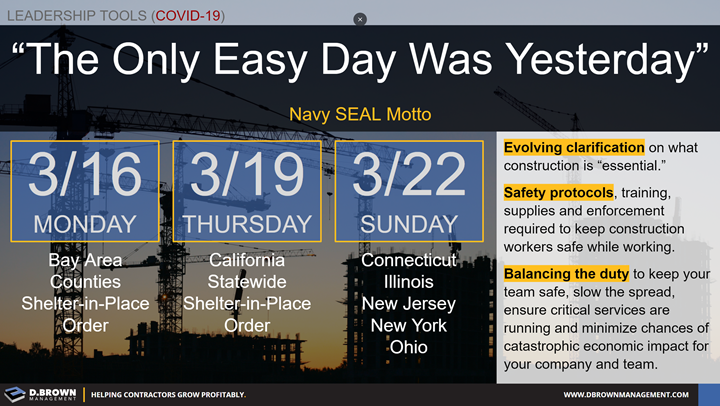 Quote: The Only Easy Day Was Yesterday. Navy SEAL Motto. End of March COVID-19 Shelter-in-Place counties and states.