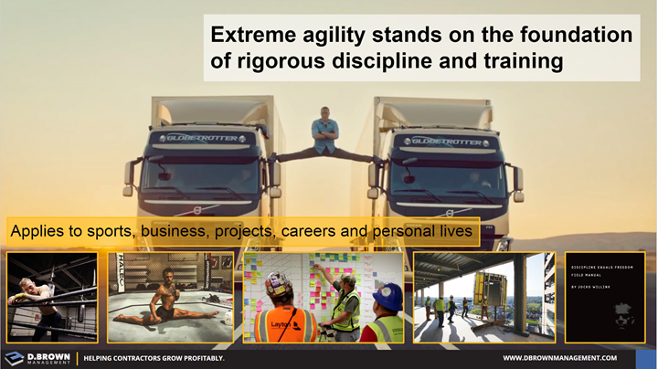 Extreme agility stands on the foundation of rigorous discipline and training.