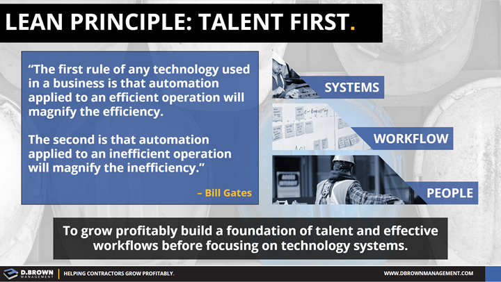 Lean Principle: Talent First. To grow profitably build a foundation of talent and effective workflows before focusing on technology systems.
