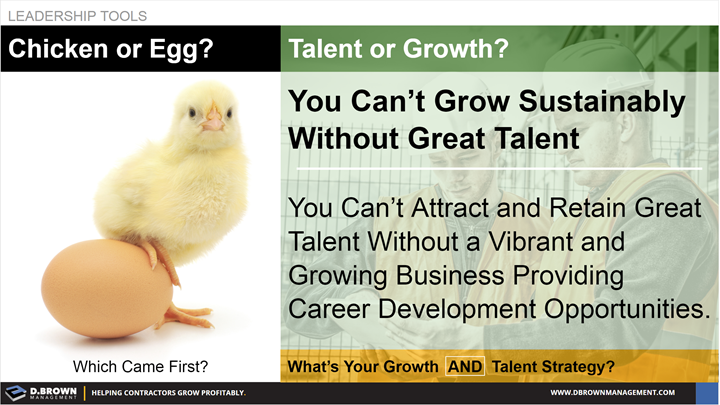 Leadership Tools: Which came first? Chicken or Egg compared to Talent or Growth. You can't grow sustainably without great talent.