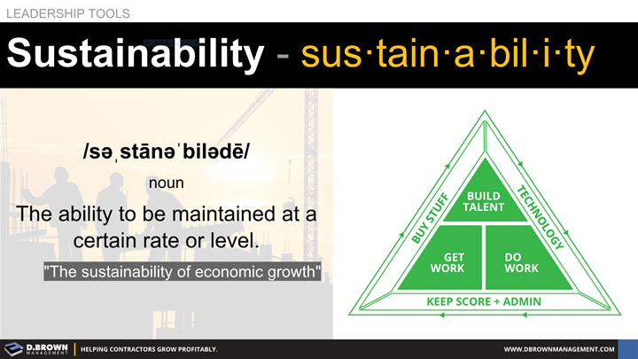 Leadership Tools: Definition of Sustainability: The ability to be maintained at a certain rate or level.