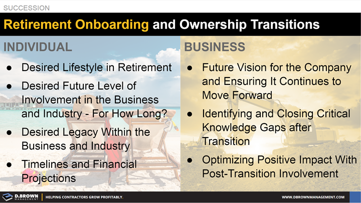Succession: Retirement Onboarding and Ownership Transitions. Comparing Individual and Business goals.