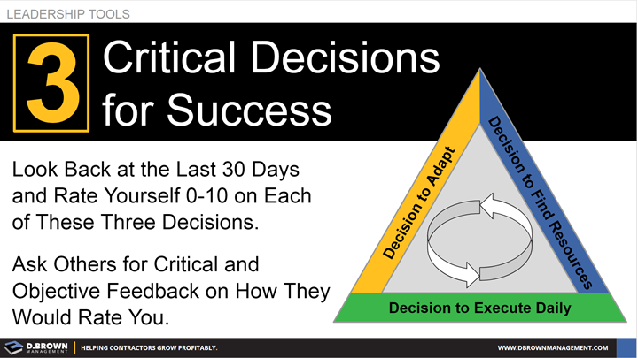 Leadership Tools: 3 Critical Decisions for Success. Decision to Adapt, Decision to Find Resources, and Decision to Execute Daily.