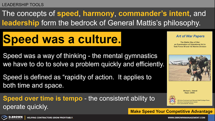 Leadership Tools: The concepts of speed, harmony, commander's intent, and leadership form the bedrock of General Mattis's philosophy. Make speed your competitive advantage.