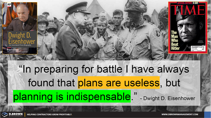 Quote: In preparing for battle I have always found that plans are useless, but planning is indispensable. Dwight D. Eisenhower.