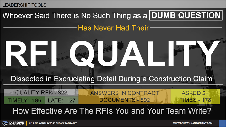 Leadership Tools: Whoever said there is no such thing as a dumb question, has never had their RFI Quality dissected in excruciating detail during a construction claim.
