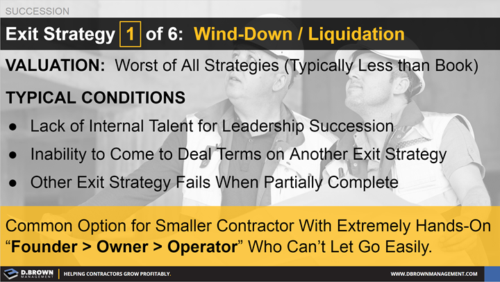 Succession: Exit Strategy 1 of 6 - Wind-Down / Liquidation.