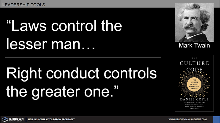 Quote: Laws control the lesser man, right conduct controls the greater one. Mark Twain.