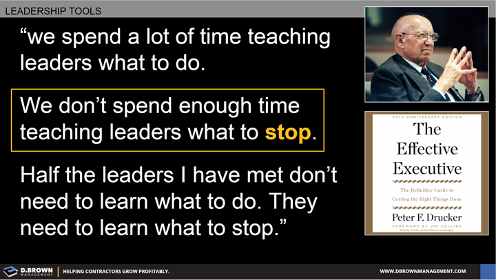 Quote: We spend a lot of time teaching leaders what to do. We don't spend enough time teaching leaders what to stop. Half the leaders I have met don't need to learn what to do. They need to learn what to stop. Peter F. Drucker.